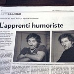 Cahier ARTS Section Humour. Article sur Emmanuel Bilodeau, La Presse. Photos : Anne Gauthier