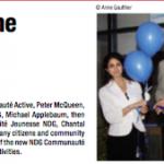 Journal Le Citoyen Décembre 2012, article sur l'inauguration des bureaux de NDG Communauté Active ! Photo : Anne Gauthier