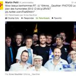 Tweet de Martin Petit sur mes photos de la conférence de presse sur la St-Jean des Humoristes et les carrés bleus 2012