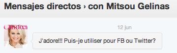Message directe de Mitsou concernant ma photo de la belle sur le tapis rouge du Gala Les Olivier 2012
