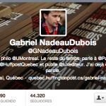 Photo du profil Twitter de Gabriel Nadeau-Dubois. Photo : Anne Gauthier