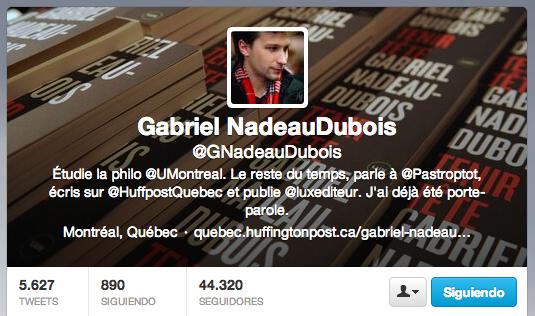 Photo du profil Twitter de Gabriel Nadeau-Dubois. Photo : Anne Gauthier