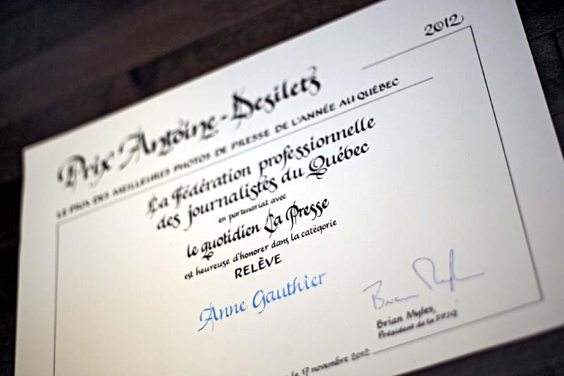 Prix Relève de l'année en photographie de presse 2012. Anne Gauthier