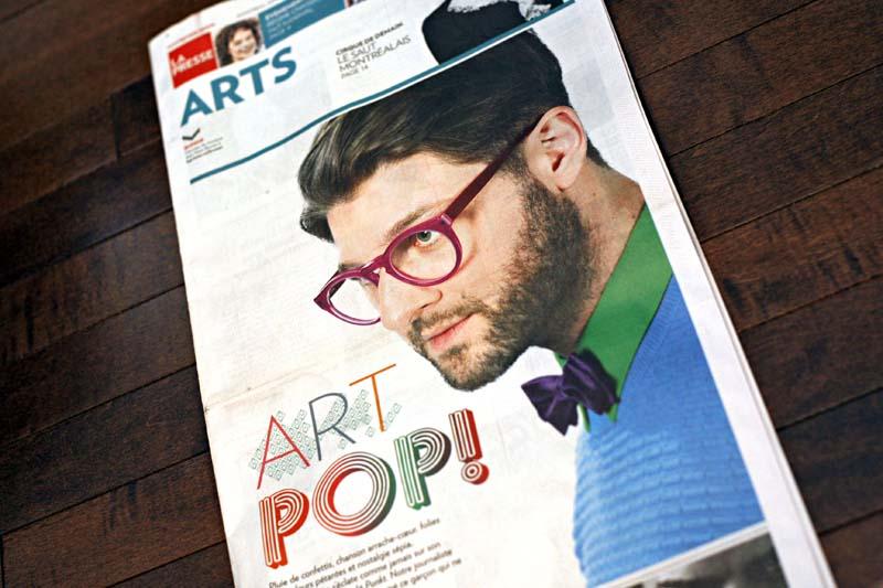La UNE du Cahier des ARTS pour le lancement du nouvel album PUNKT de Pierre Lapointe, La Presse. Photo : Anne Gauthier