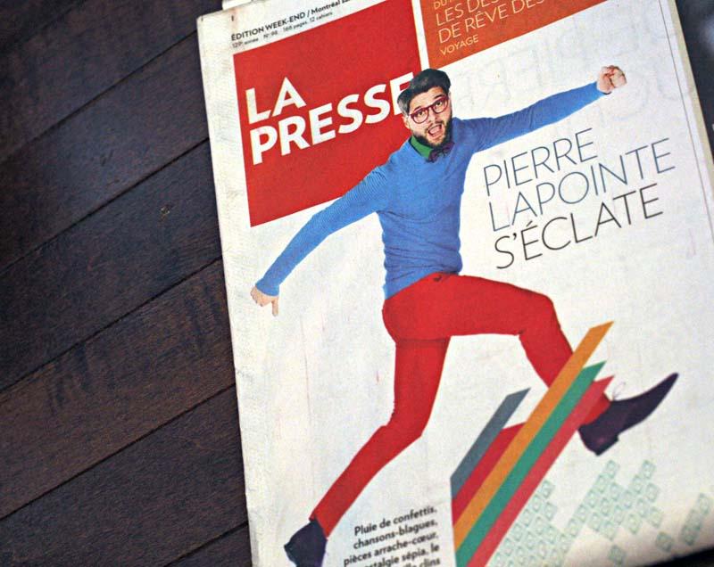 La UNE pour le lancement du nouvel album PUNKT de Pierre Lapointe, La Presse. Photo : Anne Gauthier