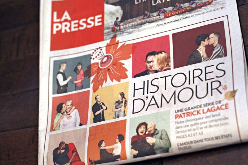 La UNE de la St-Valentin, La Presse. Photos : Anne Gauthier