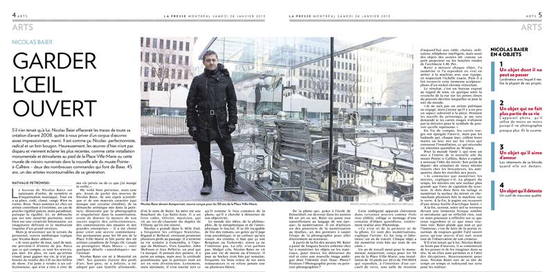 Stage à la Presse :: Nicolas Baier devant son oeuvre à la Place Ville-Marie