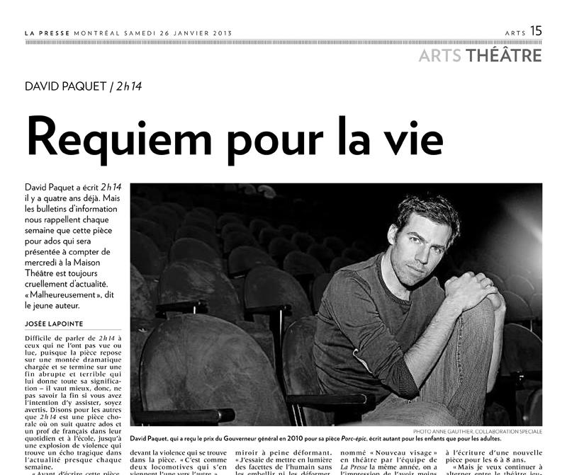 Stage à la Presse :: Portrait de l'auteur David Paquet
