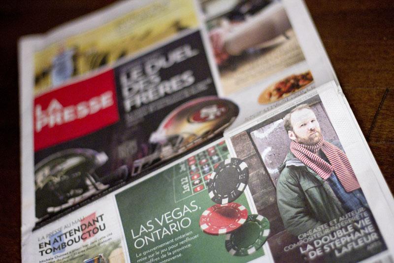 La UNE de La Presse du 2 février 2013 : Photo de Stéphane Lafleur par Anne Gauthier