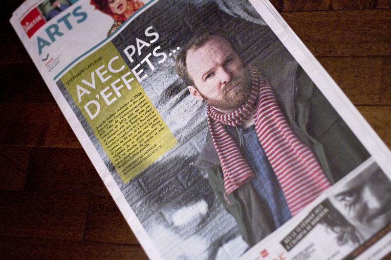 La UNE du cahier des ARTS de La Presse du 2 février 2013 : Photo de Stéphane Lafleur par Anne Gauthier