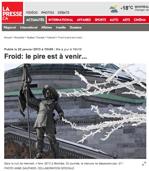 Stage à La Presse :: Le froid est sur le Québec