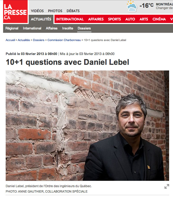 """Portrait de Daniel Lebel, Président de l'OIQ, pour l'article """"10+1 questions avec Daniel Lebel"""" de Nathalie Collard"""