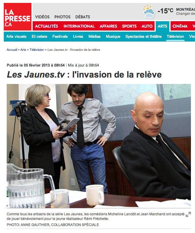 Photo du tournage de Les Jaunes.tv pour l'article de Stéphanie Vallet sur LaPresse.ca