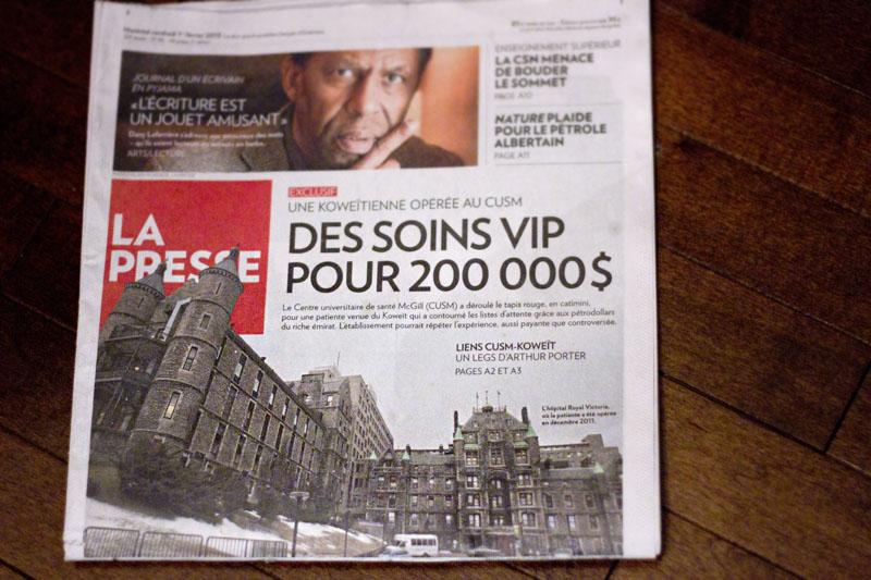 La UNE de La Presse le 1er février 2013 :: Photo de l'Hôpital Royal Victoria par Anne Gauthier