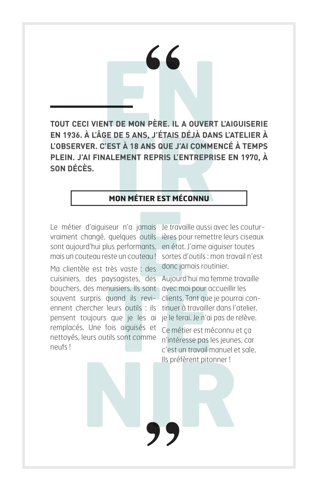 Reportage sur les métiers de la couture à Montréal :: Le fil d'Ariane # 2 :: Yvon Bouchard, Aiguiseur