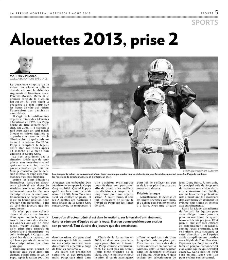 Alouettes 2013-2013-08-07 LA PRESSE Photo Anne Gauthier