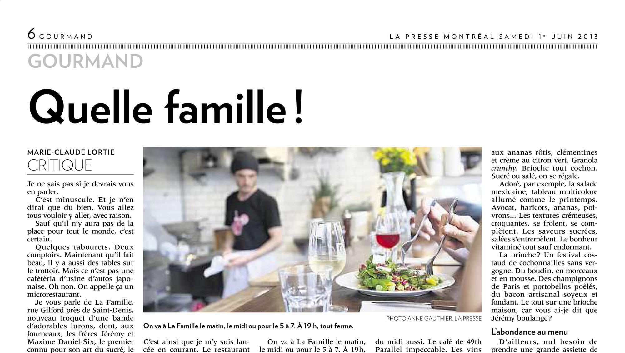 La Presse Resto La Famille : Photo Anne Gauthier